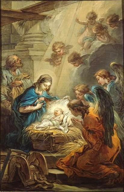 Nativity (study), Oil On Canvas by Charles-André Van Loo (Carle Van Loo) (1705-1765, France)