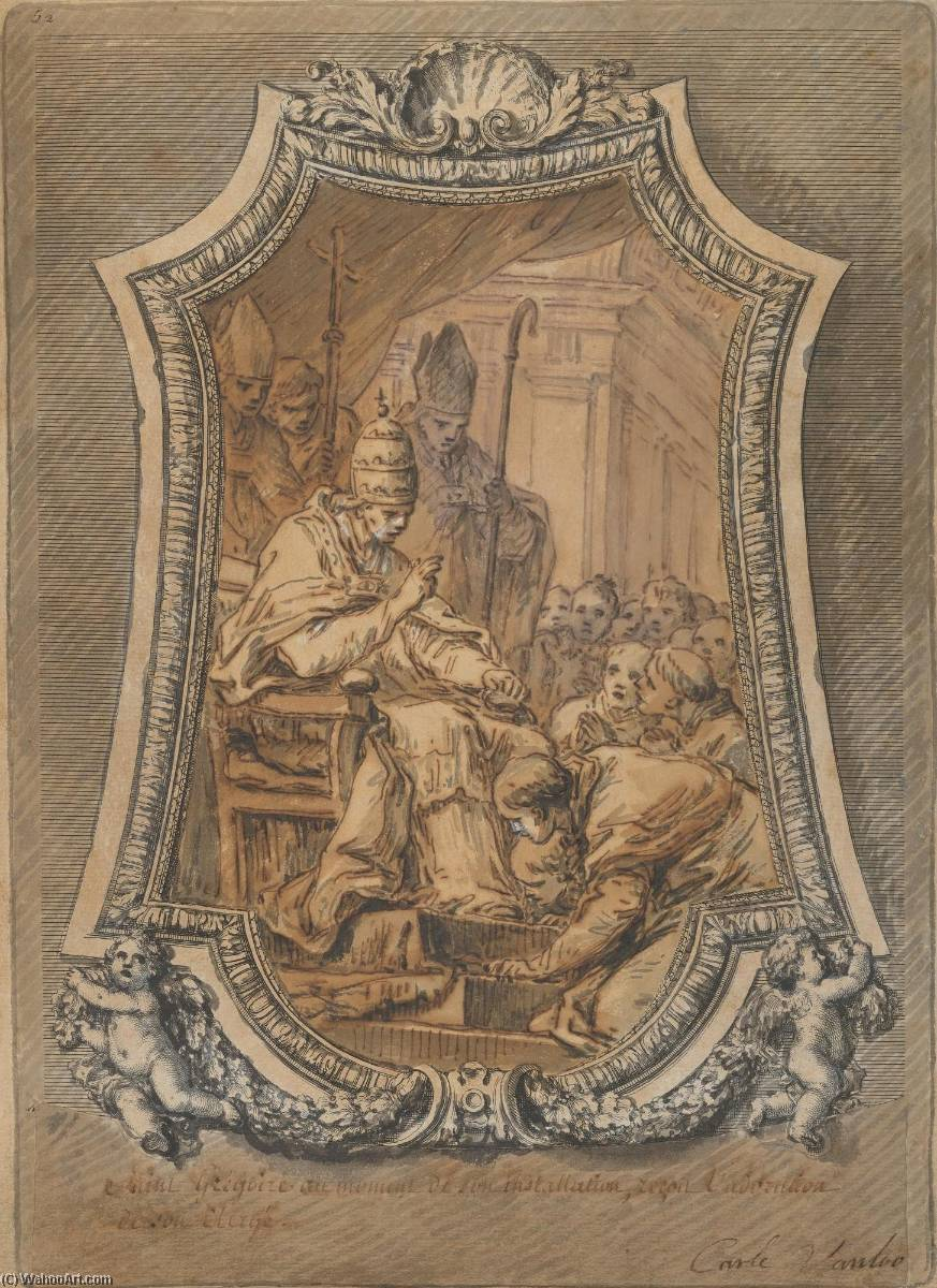 Life of St. Gregory The Clergy of Rome Paying Homage to St. Gregory after His Investiture, 1762 by Charles-André Van Loo (Carle Van Loo) (1705-1765, France) | WahooArt.com