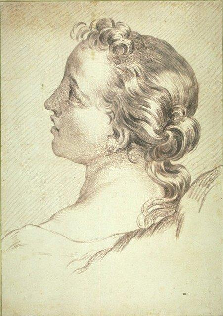 Head of a Young Girl, Chalk by Charles-André Van Loo  (order Fine Art Print on canvas Charles-André Van Loo (Carle Van Loo))