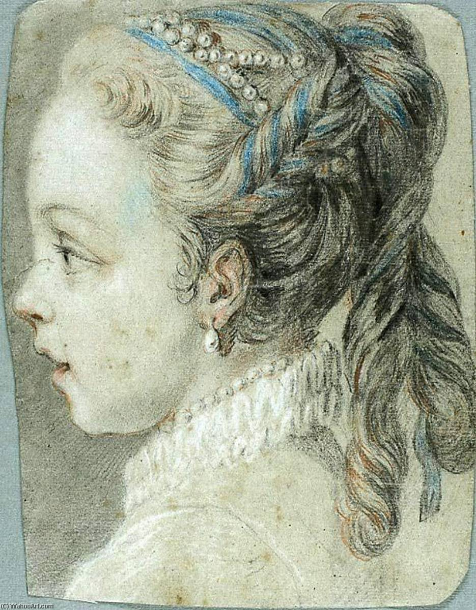 Head of a Young Girl Facing to the Left, Drawing by Charles-André Van Loo (Carle Van Loo) (1705-1765, France)
