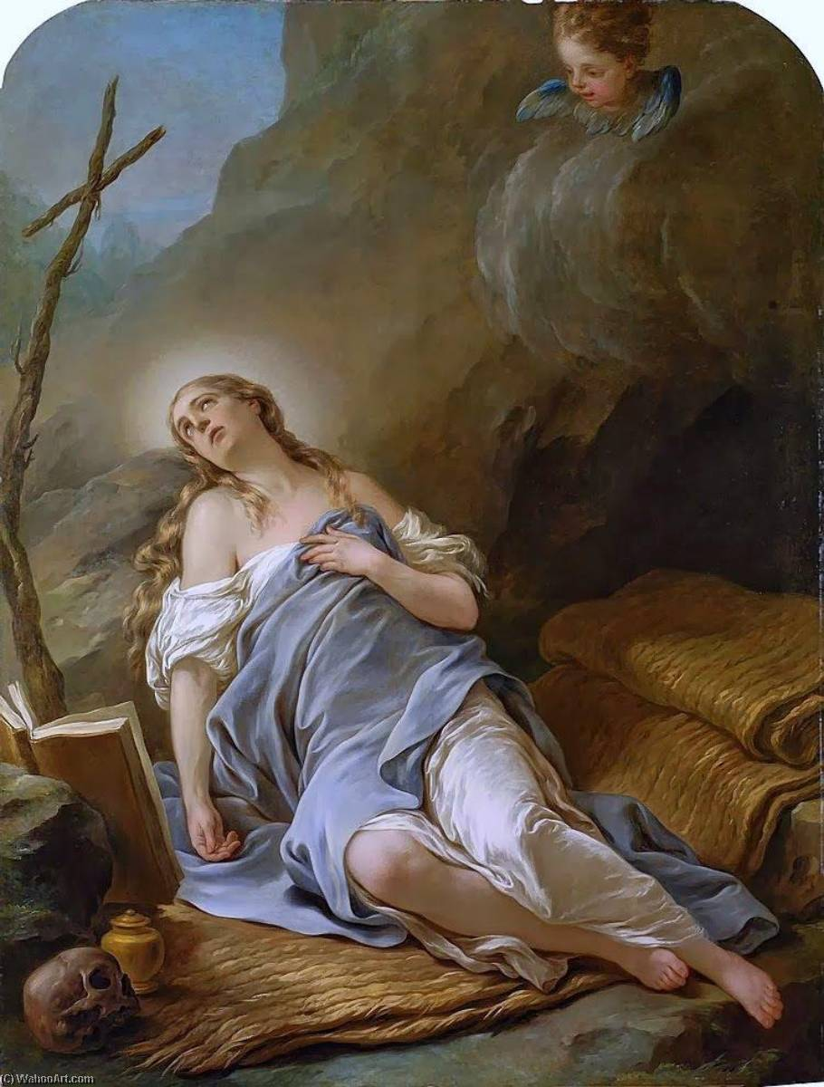 Mary Magdalene in the Desert, Oil On Canvas by Charles-André Van Loo (Carle Van Loo) (1705-1765, France)