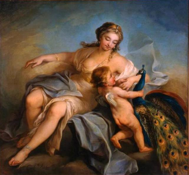 Juno, Oil On Canvas by Charles-André Van Loo (Carle Van Loo) (1705-1765, France)