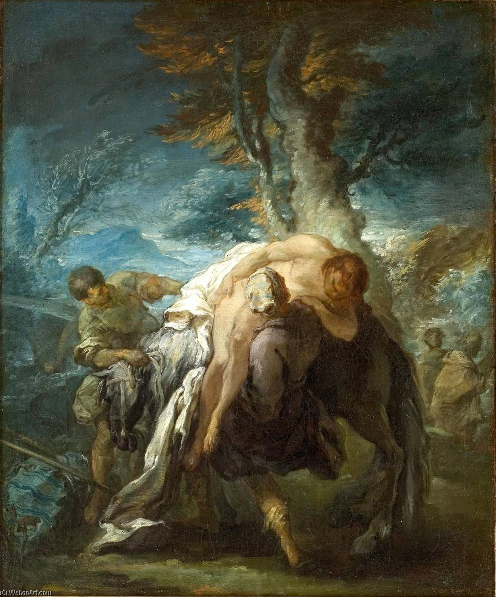 The Good Samaritan, Oil On Canvas by Charles-André Van Loo (Carle Van Loo) (1705-1765, France)