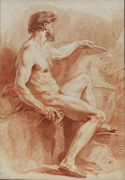 Naked Man with his Left Hand on a Vase, Chalk by Charles-André Van Loo (Carle Van Loo) (1705-1765, France)