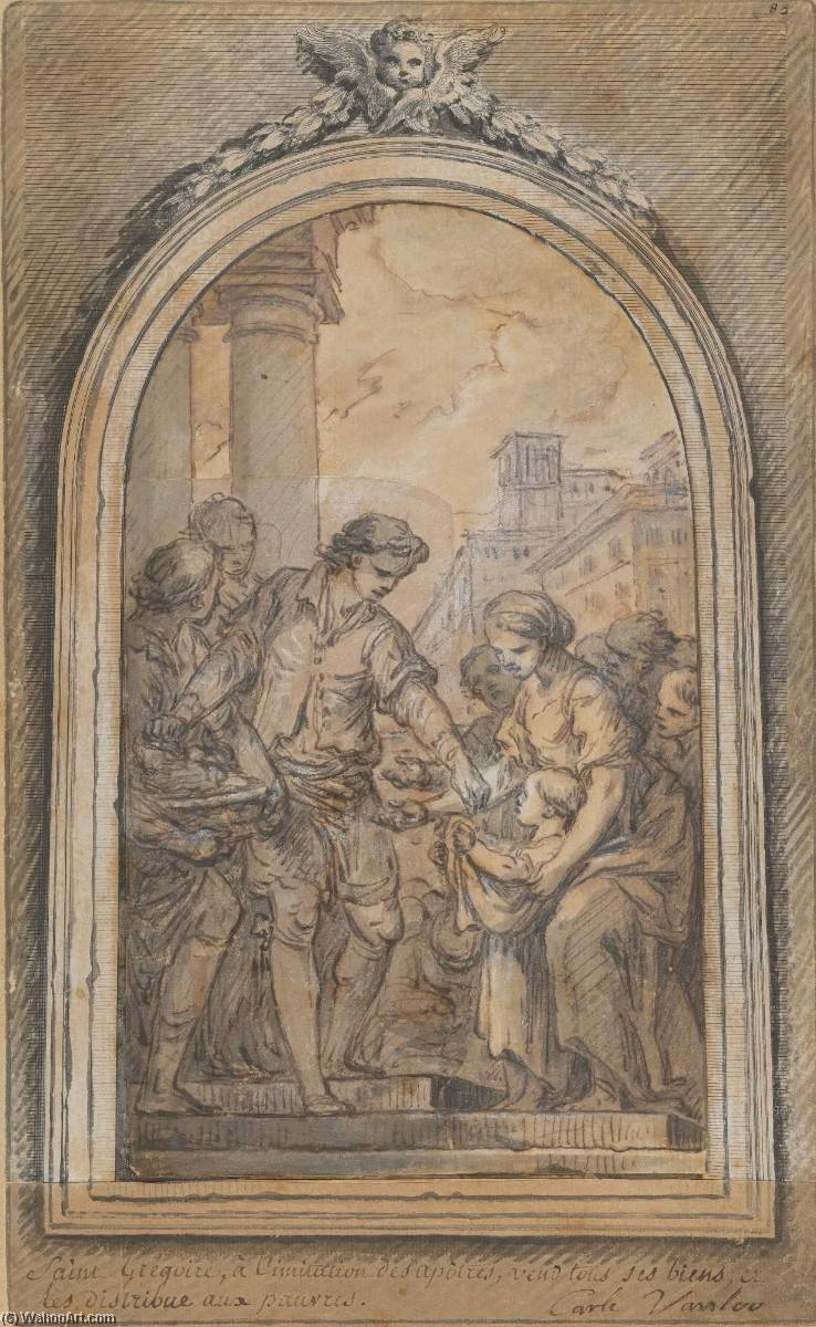 Life of St. Gregory St. Gregory Distributing His Worldly Goods to the Poor, Ink by Charles-André Van Loo (Carle Van Loo) (1705-1765, France)