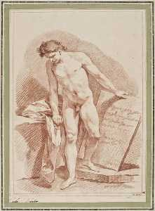 Charles-André Van Loo (Carle Van Loo) - Naked Man Standing and Holding a Stone Tablet