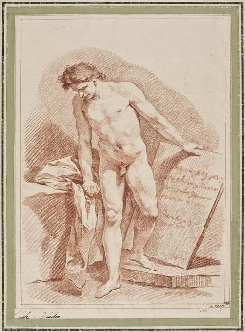 Naked Man Standing and Holding a Stone Tablet, Chalk by Charles-André Van Loo (Carle Van Loo) (1705-1765, France)