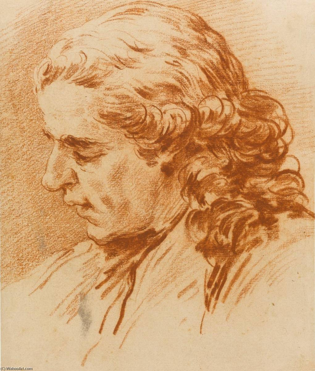 Head of a Young Man, Chalk by Charles-André Van Loo (Carle Van Loo) (1705-1765, France)