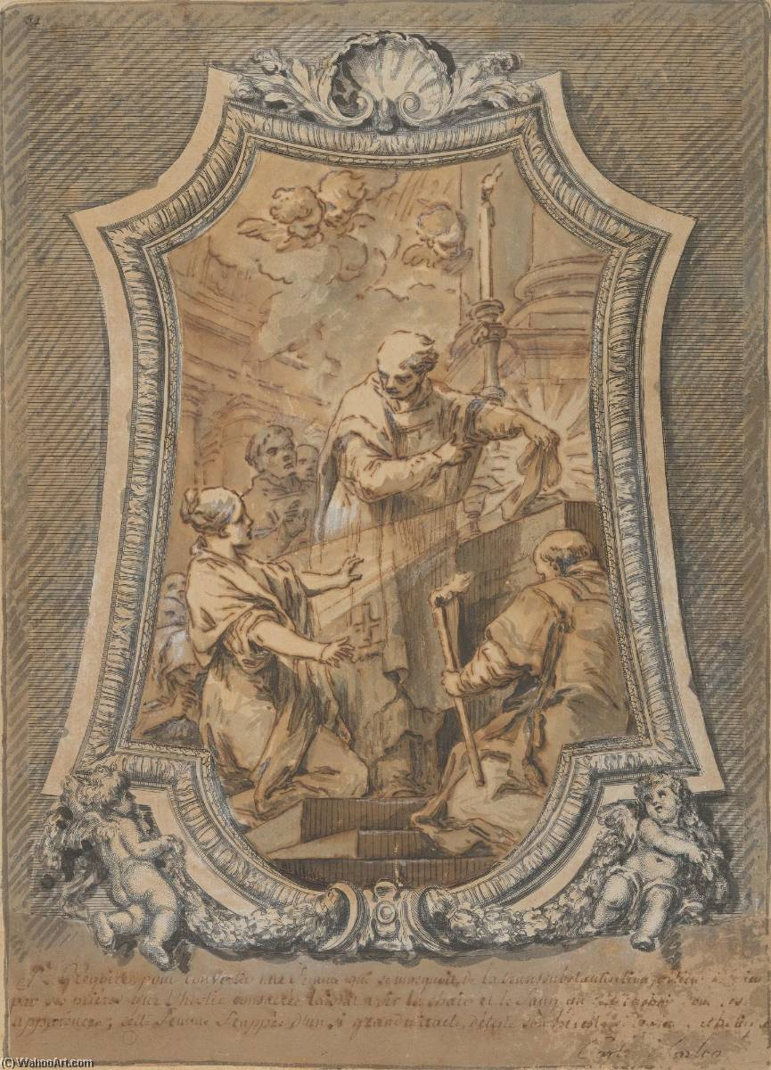 Life of St. Gregory The Mass of St. Gregory, Ink by Charles-André Van Loo (Carle Van Loo) (1705-1765, France)