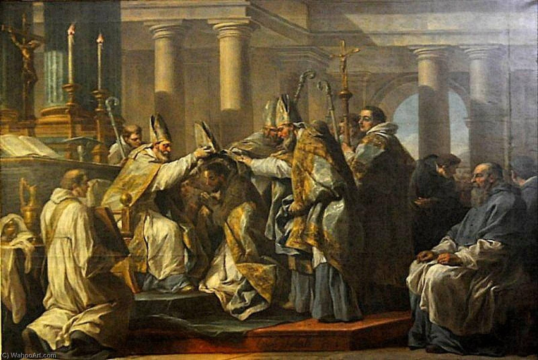 Life of St Augustine The Ordination of St Augustine, Oil On Canvas by Charles-André Van Loo (Carle Van Loo) (1705-1765, France)