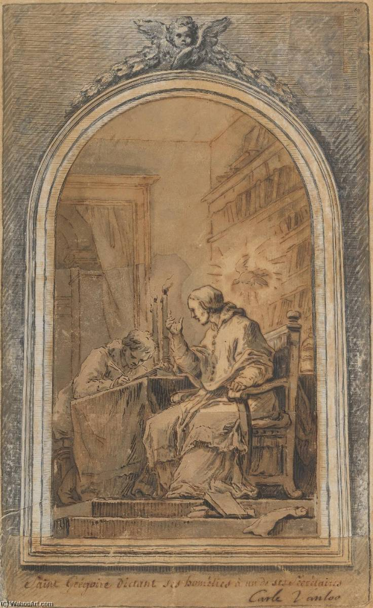 Life of St. Gregory St. Gregory Dictating His Homilies to a Secretary, Ink by Charles-André Van Loo (Carle Van Loo) (1705-1765, France)