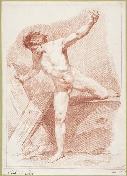 Naked Man with Arms and Legs Outstretched, Chalk by Charles-André Van Loo (Carle Van Loo) (1705-1765, France)