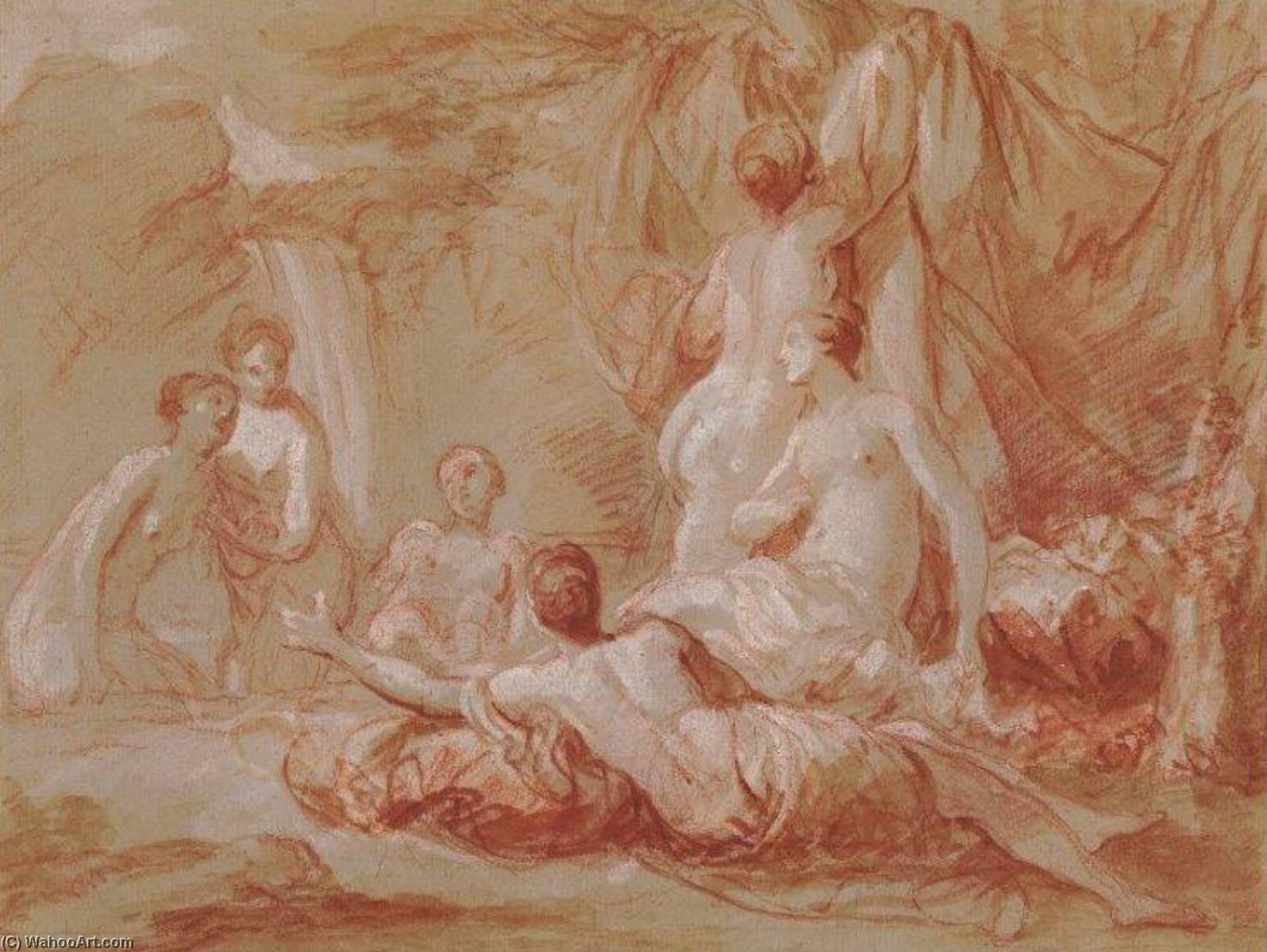 Group of Nymphs, Chalk by Charles-André Van Loo (Carle Van Loo) (1705-1765, France)