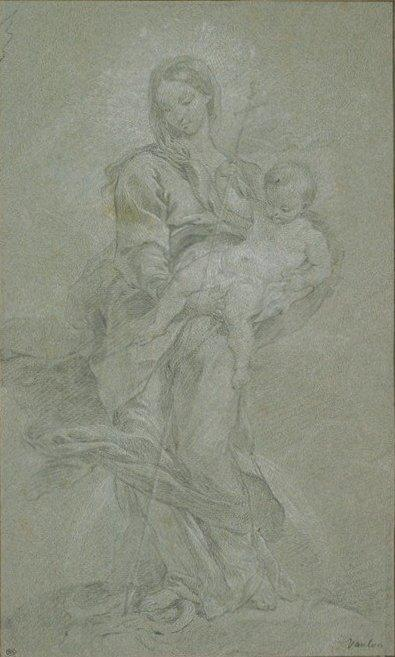 Madonna with Child Beating the Snake, Chalk by Charles-André Van Loo (Carle Van Loo) (1705-1765, France)