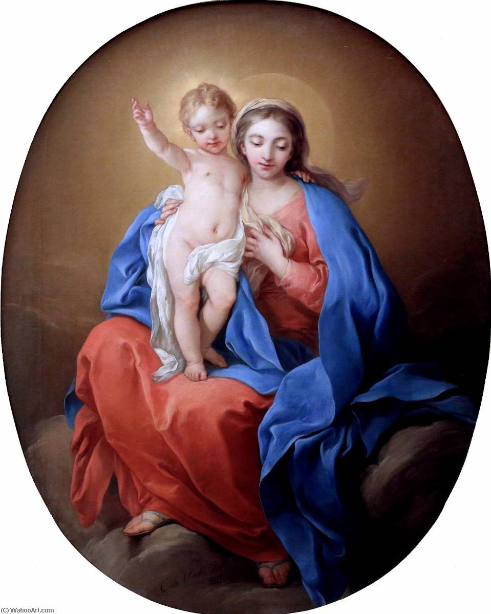 Madonna with Child, Oil On Canvas by Charles-André Van Loo (Carle Van Loo) (1705-1765, France)