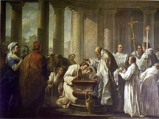 Life of St Augustine The Baptism of St Augustine, Oil On Canvas by Charles-André Van Loo (Carle Van Loo) (1705-1765, France)