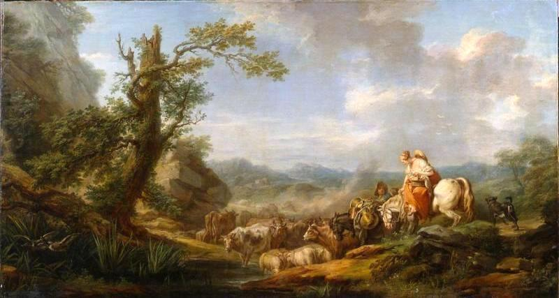 Landscape with Cattle, Oil On Canvas by Charles-André Van Loo (Carle Van Loo) (1705-1765, France)