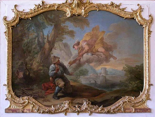 Mercury and the Woodman, Oil On Canvas by Charles-André Van Loo (Carle Van Loo) (1705-1765, France)