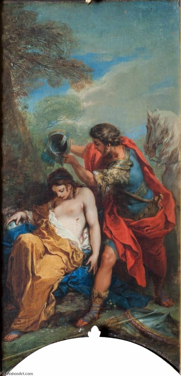 Jerusalem Delivered Tancredi Baptising the Dying Clorinda, Oil On Canvas by Charles-André Van Loo (Carle Van Loo) (1705-1765, France)