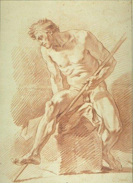 Naked Man Holding a Long Staff, Chalk by Charles-André Van Loo (Carle Van Loo) (1705-1765, France)