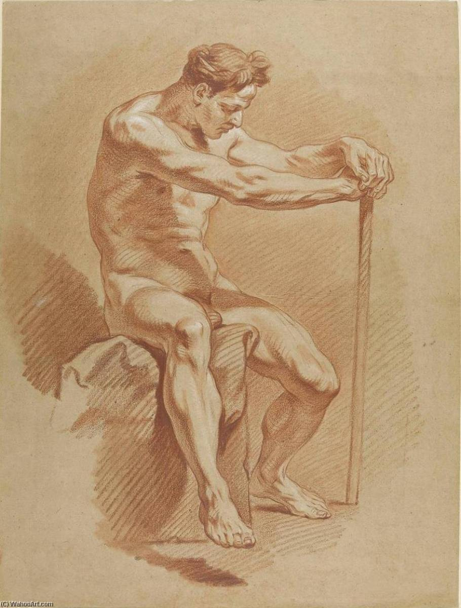 Man Sat on a Rock, his Hands on a Staff, Chalk by Charles-André Van Loo (Carle Van Loo) (1705-1765, France)