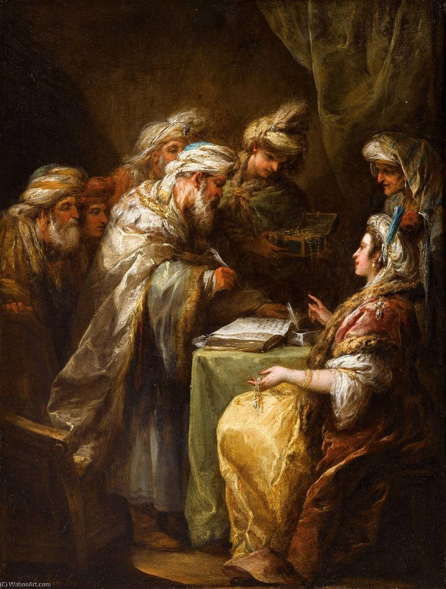 The Marriage Contract, 1736 by Charles-André Van Loo (Carle Van Loo) (1705-1765, France) | Museum Quality Reproductions | WahooArt.com