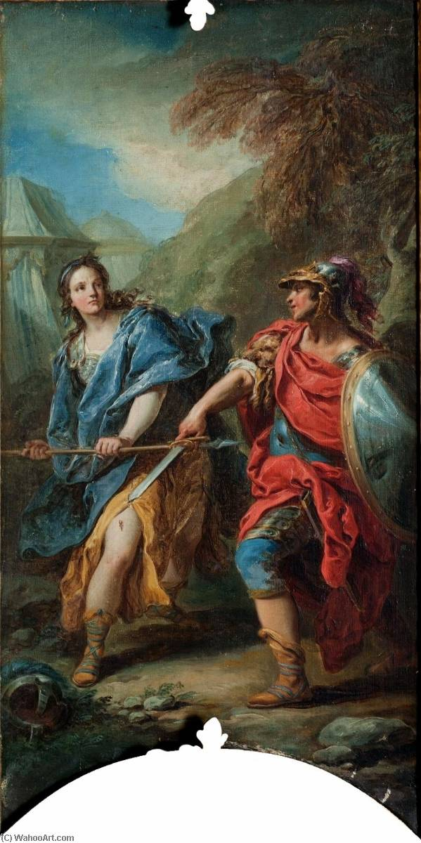 Jerusalem Delivered Tancredi Fighting Clorinda, Oil On Canvas by Charles-André Van Loo (Carle Van Loo) (1705-1765, France)