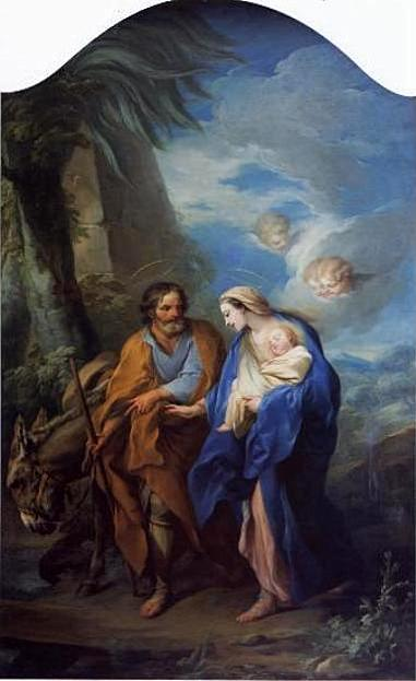 The Flight into Egypt, Oil On Canvas by Charles-André Van Loo (Carle Van Loo) (1705-1765, France)