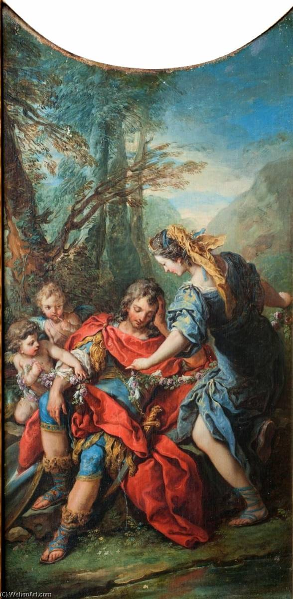Jerusalem Delivered Rinaldo Being put in Flower Chains by Armida, Oil On Canvas by Charles-André Van Loo (Carle Van Loo) (1705-1765, France)