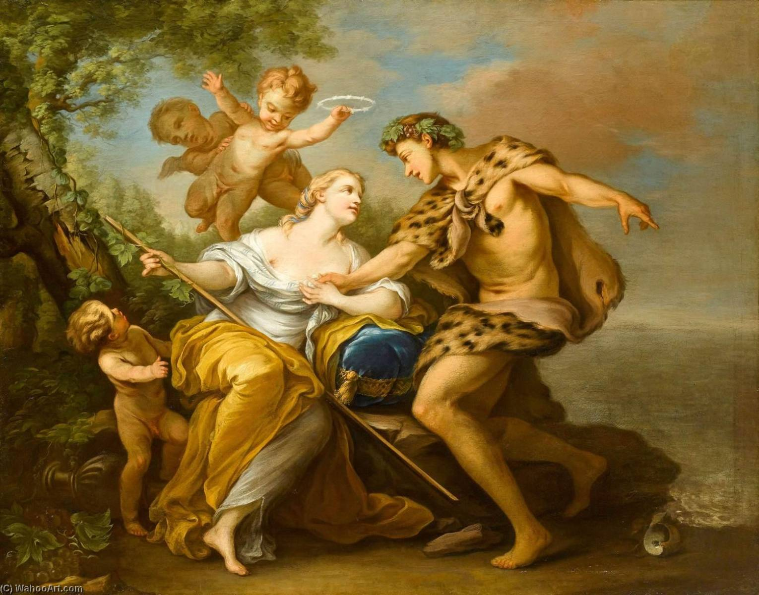 Order Famous Paintings Reproductions : Bacchus and Ariadne by Charles-André Van Loo (Carle Van Loo) (1705-1765, France) | WahooArt.com