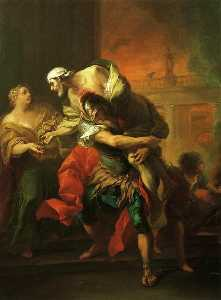 Aeneas Carrying Anchises, Oil On Canvas by Charles-André Van Loo  (order Fine Art oil painting Charles-André Van Loo (Carle Van Loo))
