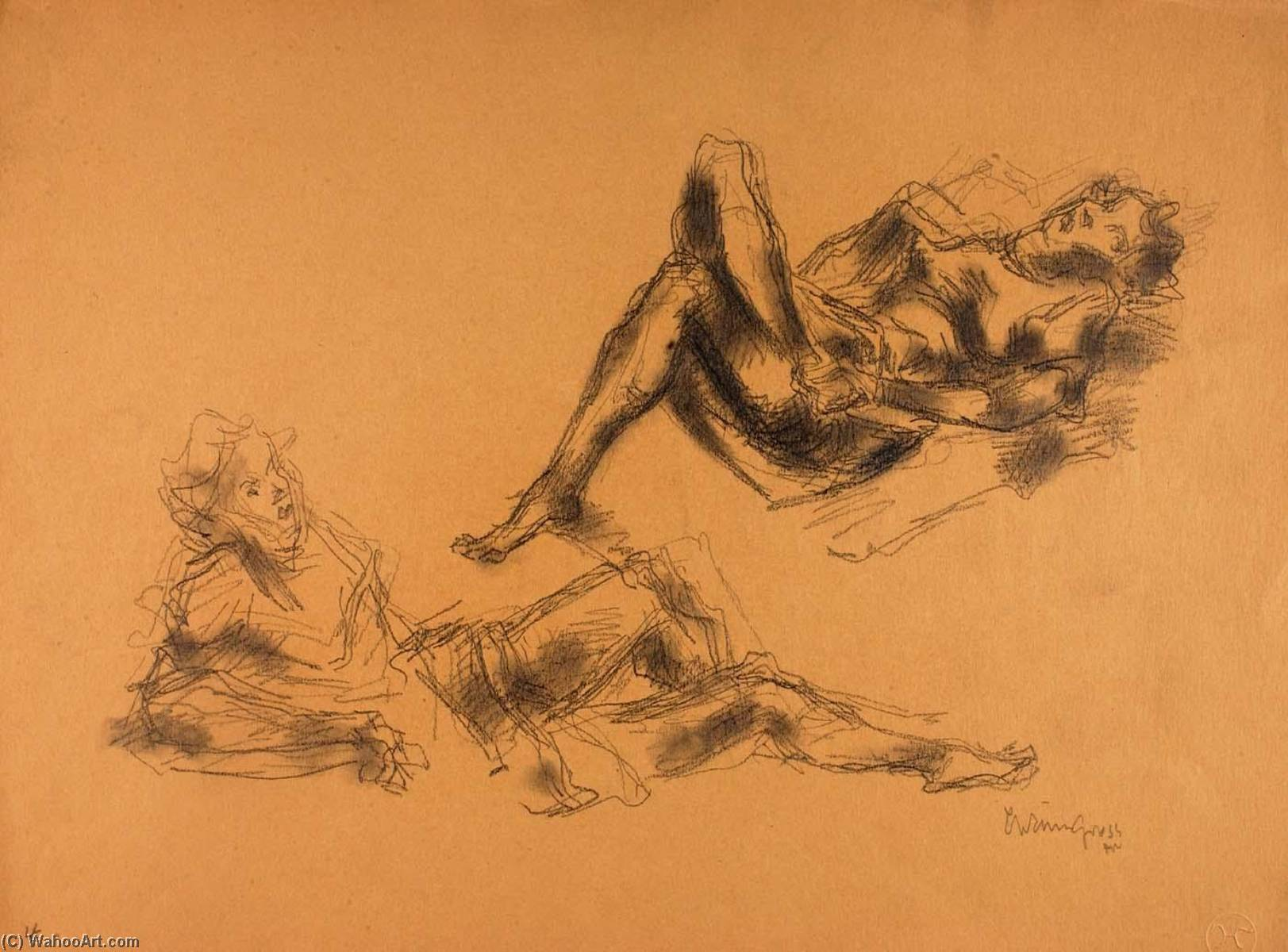 Untitled (2 reclining women), Pencil by Chaim Gross