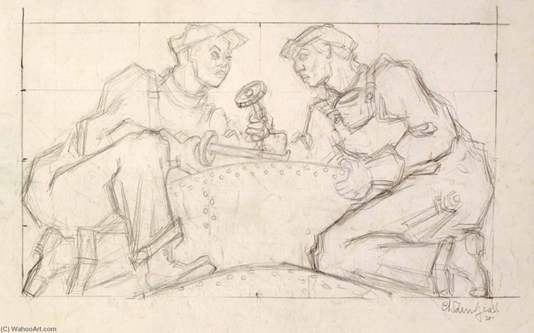 Welders (sketch for relief panel, U.S. Federal Trade Commission Building), Pencil by Chaim Gross
