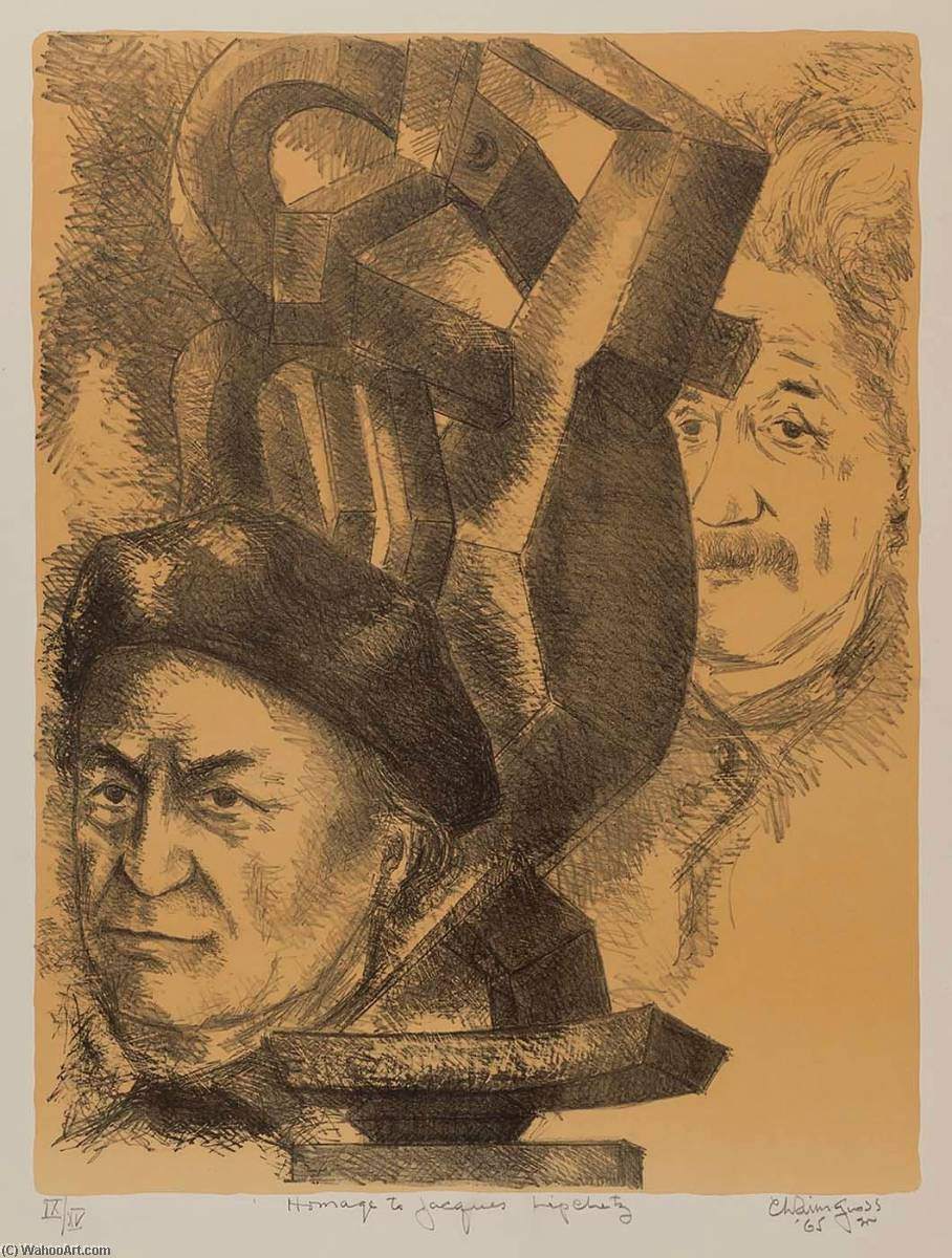 Homage to Jacques Lipchitz, Lithography by Chaim Gross