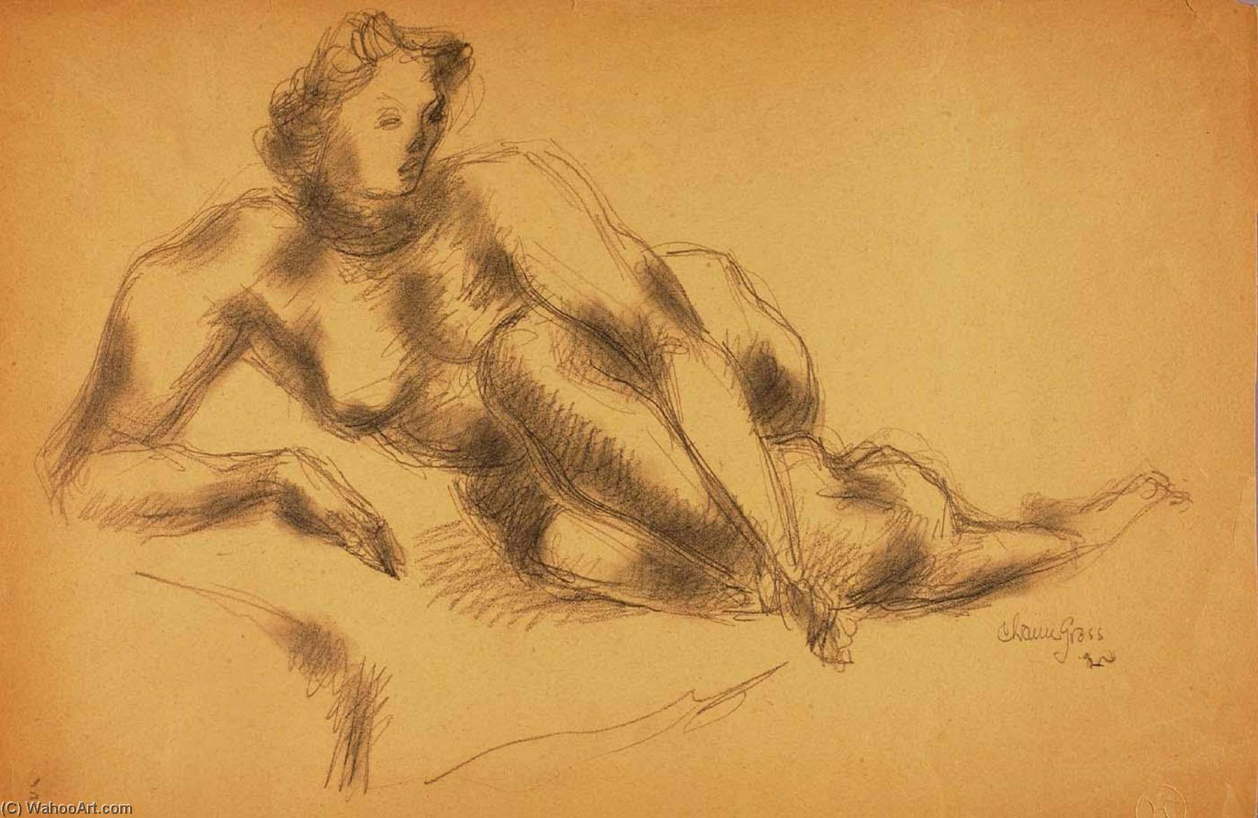 Untitled (female nude), Watercolour by Chaim Gross