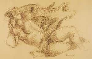 Chaim Gross - Untitled (reclining nude, sketch for sculpture)