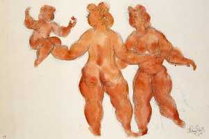 Chaim Gross - Untitled (3 female nudes)