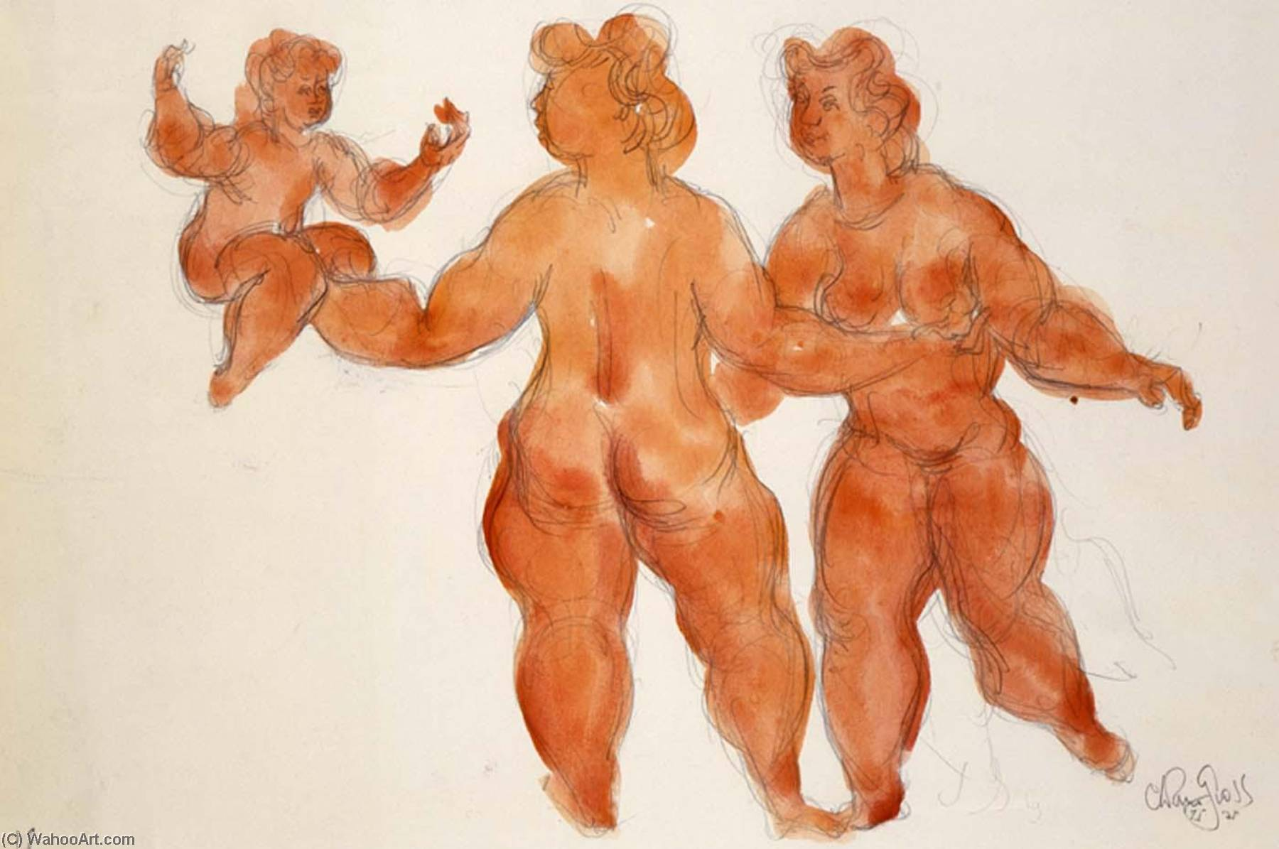 Untitled (3 female nudes), 1975 by Chaim Gross | Famous Paintings Reproductions | WahooArt.com