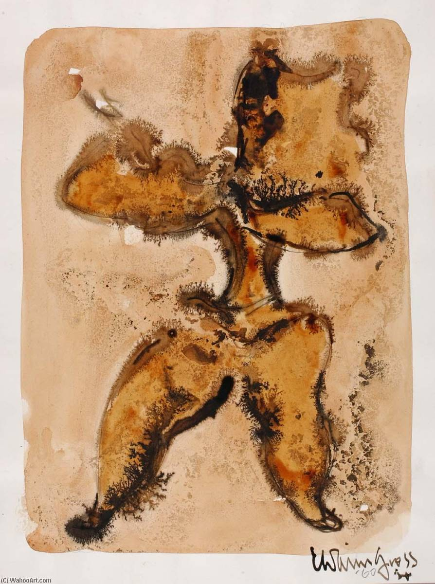 Sketch for Sculpture ( 4), Watercolour by Chaim Gross