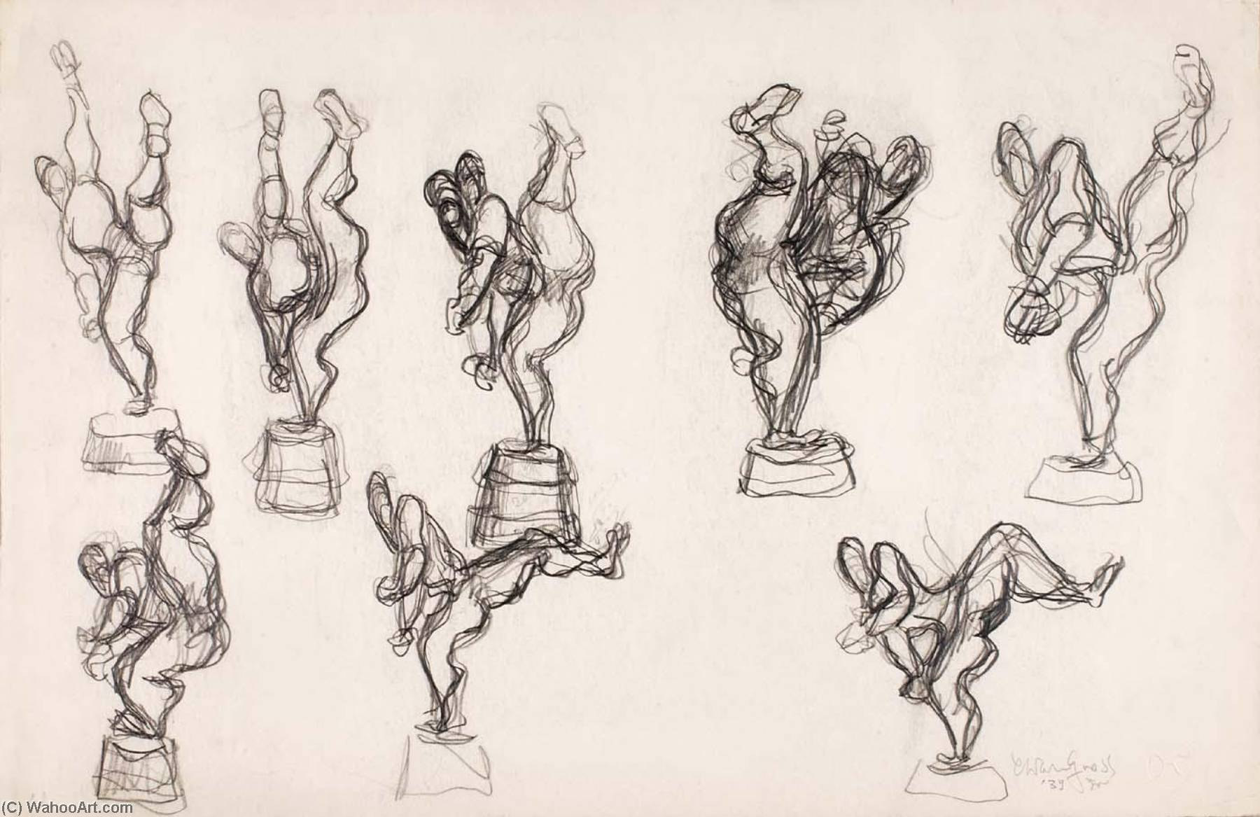 Pitcher (study for sculpture), Pencil by Chaim Gross