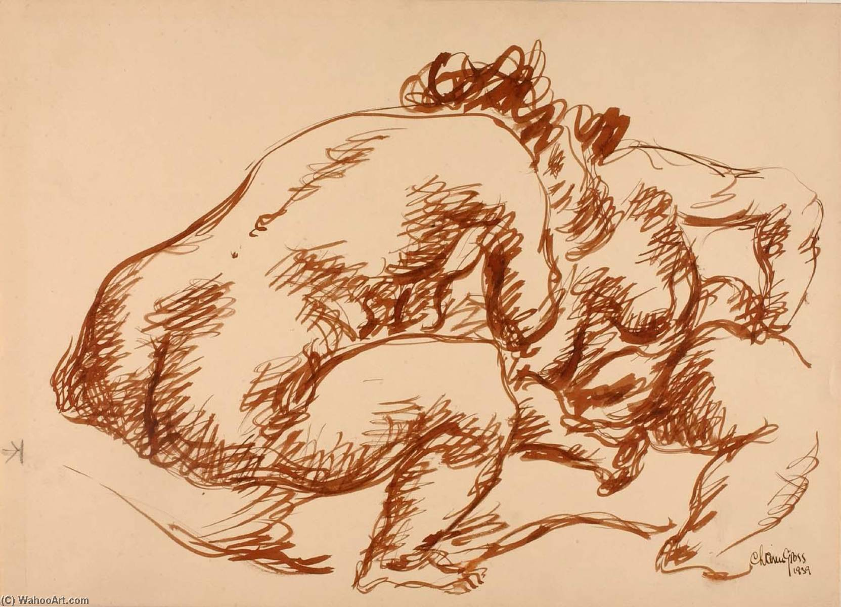 (Two Nudes), Watercolour by Chaim Gross