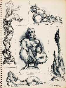 Chaim Gross - Untitled (studies for sculpture)