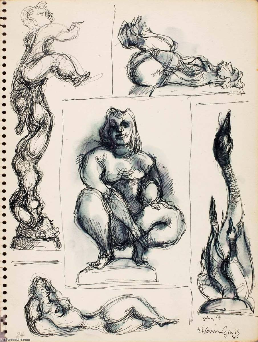 Untitled (studies for sculpture), 1954 by Chaim Gross | WahooArt.com