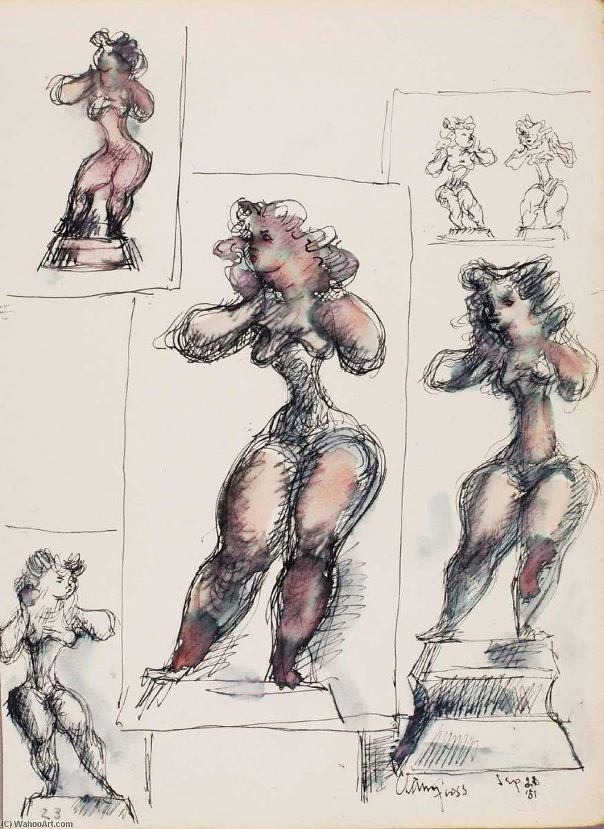 Victoria (study for sculpture), Pen by Chaim Gross