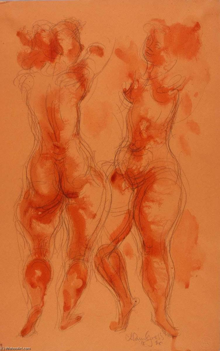 Untitled (2 female nudes), Wash by Chaim Gross