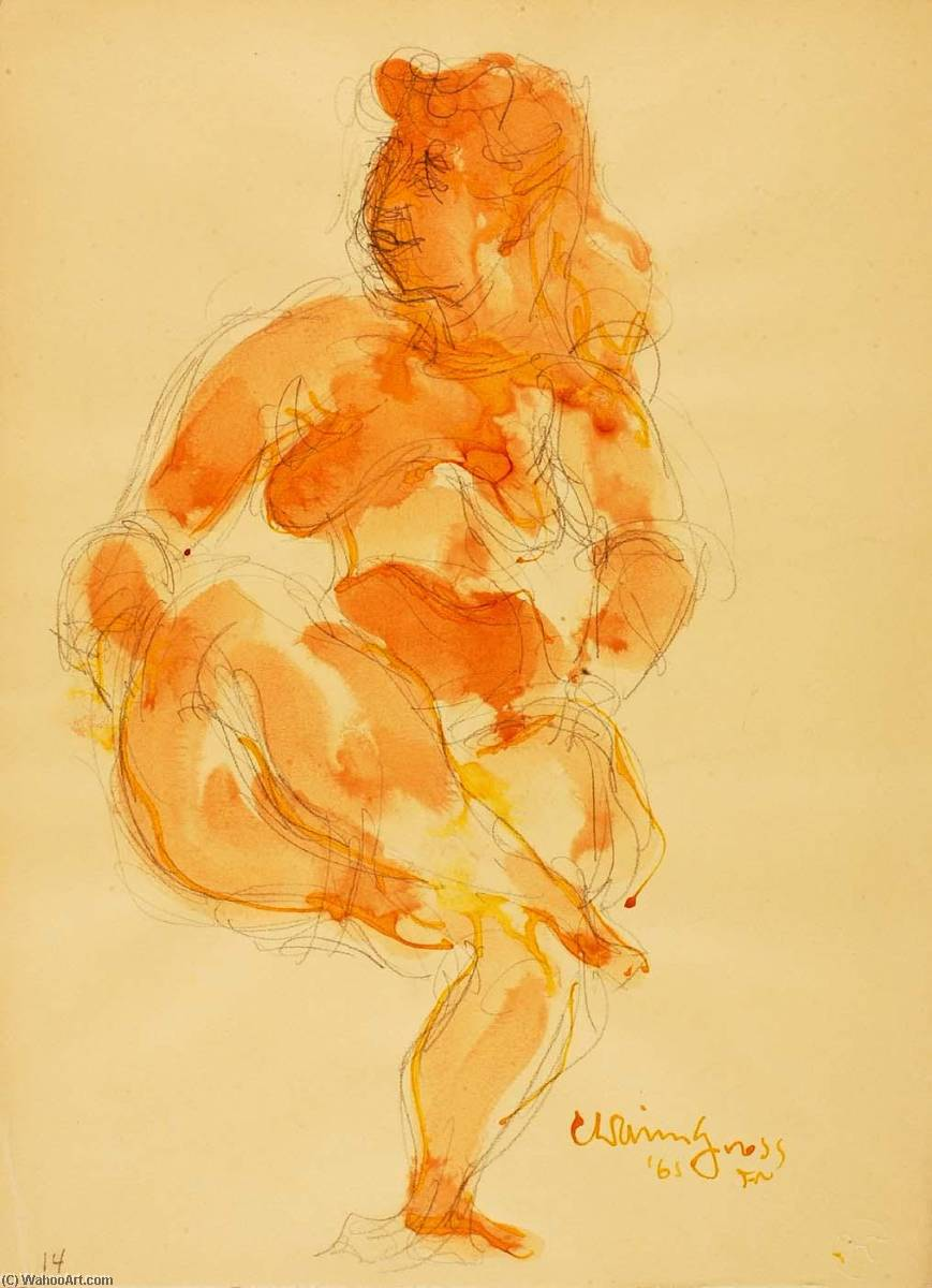 Untitled (seated female nude), Watercolour by Chaim Gross