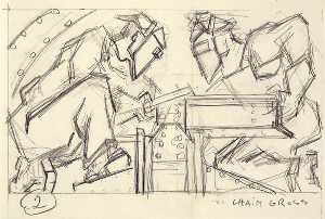 Chaim Gross - Welders 2 (sketch for relief panel, U.S. Federal Trade Commission Building)