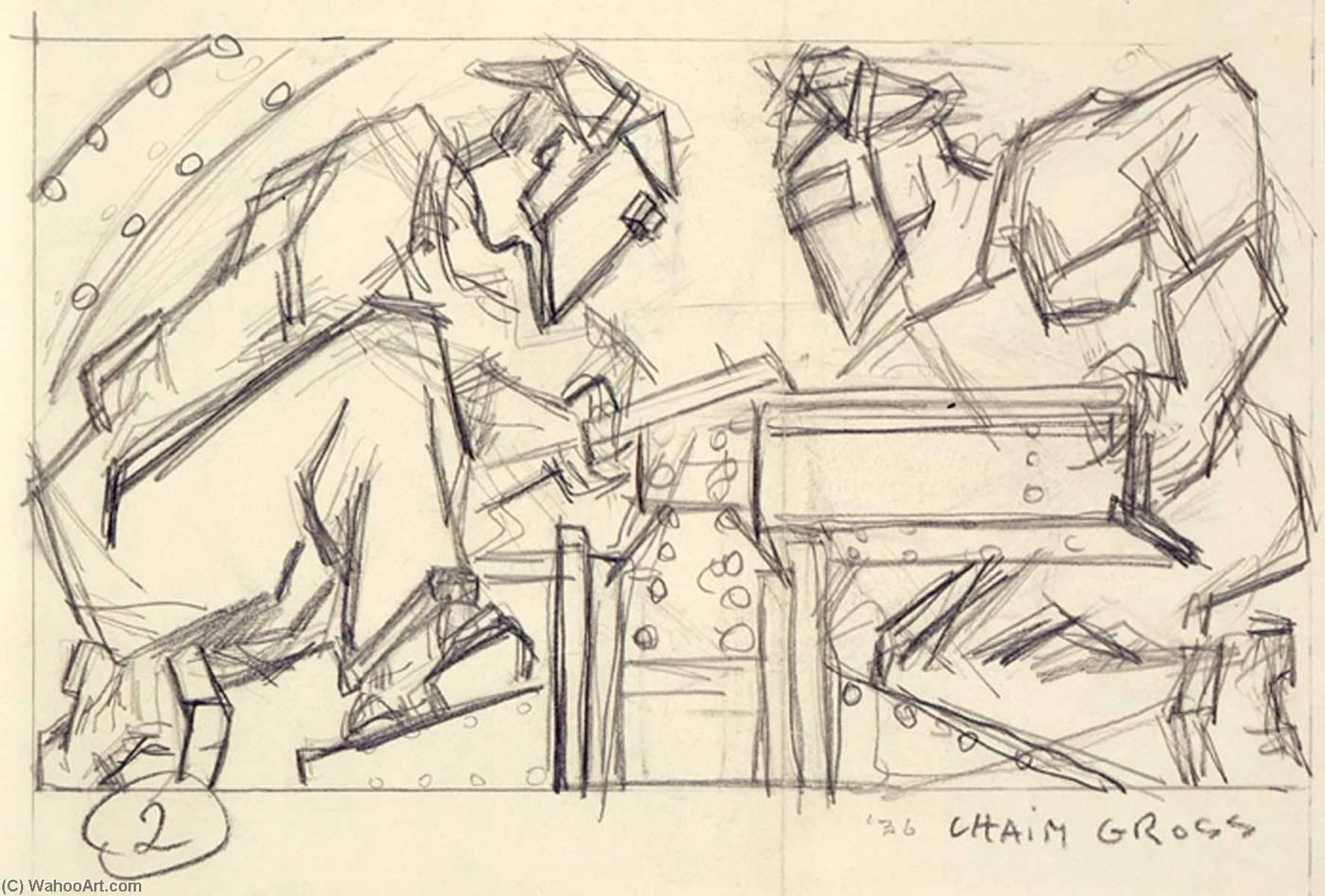 Welders 2 (sketch for relief panel, U.S. Federal Trade Commission Building), Pencil by Chaim Gross