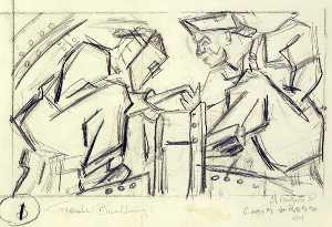 Chaim Gross - Welders 1 (sketch for relief panel, U.S. Federal Trade Commission Building)