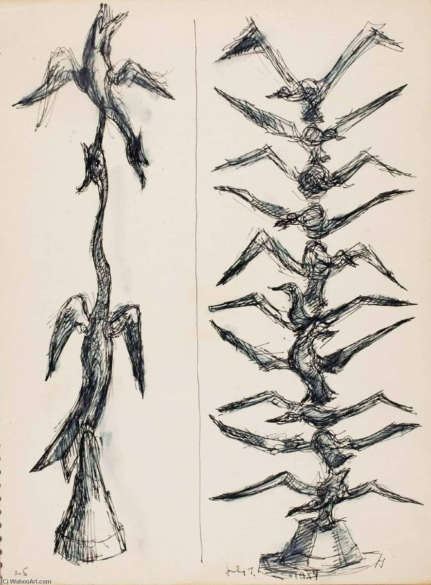 Untitled (birds studies for sculpture), 1954 by Chaim Gross | Museum Quality Reproductions | WahooArt.com